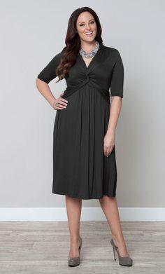 Trinity Twist Dress – Twilight Gray (Women's Plus Size) From the Plus Size Fashion Community at www.VintageandCurvy.com