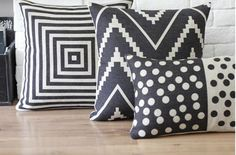 Picture of Set of 3 Black & White Nordic Ikat Pillows Covers Scandanavian Throw Cushion Beach House Decor Aztec