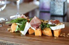Melon Salad ~  Cantaloupe, Prosciutto, Saint André Cheese, Arugula, Marcona Almonds