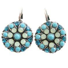 Mariana Silver Plated Flower Blossom Swarovski Crystal Earrings, Blue Lagoon. Available at www.regencies.com