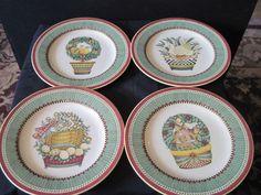 Set of 4 Debbie Mumm 12 Days of Christmas plates by Sakura