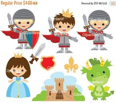 ON SALE INSTANT Download. Ck_98_Knights. Knights, princess and dragon clip art. Personal and commercial use.