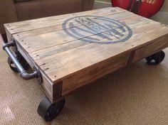 Industrial Railroad Coffee Table Cart by RetroWorksStudio on Etsy