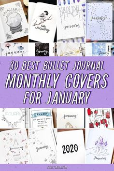 Check out the 30 best January BULLET JOURNAL monthly cover ideas for inspiration! Bullet Journal For Beginners, January Bullet Journal, Bullet Journal Font, Bullet Journal Cover Page, Bullet Journal Printables, Bullet Journal How To Start A, Journal Covers, Journal Pages, Journal Ideas