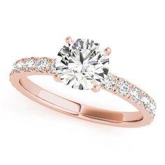 0e3ca352faa Nefili Round Moissanite Half Eternity 4 Prong Engagement Ring
