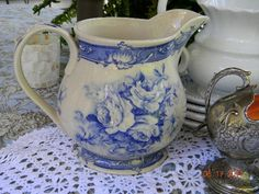 Victorian Blue Rose pitcher