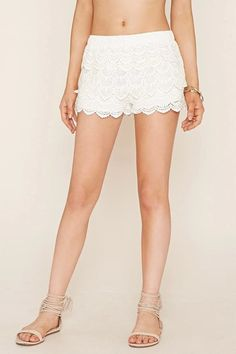 Pin for Later: Trending Outfits to Up Your Summer Fashion Game  Forever 21 Scalloped Crochet Shorts ($20)