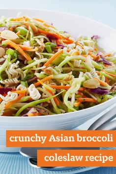 Crunchy Asian Broccoli Coleslaw Recipe – Enjoy the flavorful combination of ramen noodles and toasted almonds with this spring-ready recipe. With crowd-pleasing crunch and flavor, this dish would be a wonderful addition to the potluck menu.
