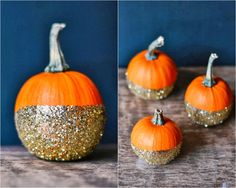 DIY: dip-dye glitter pumpkins. The Perfect no-carve pumpkin.