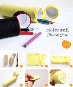 Elabora un practico estuche para lapices con un par de rollos de cartón (del papel higiénico), un zipper y un trozo de fieltro.
