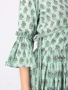 Green Hand Blockprinted Rayon Crepe Wrap Dress is part of Kurti sleeves design - Salwar Designs, Printed Kurti Designs, Kurta Designs Women, Kurti Neck Designs, Dress Neck Designs, Sleeve Designs, Blouse Designs, Kurti Sleeves Design, Sleeves Designs For Dresses
