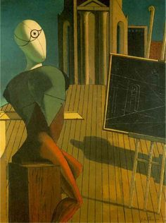 Giorgio de Chirico, 1915: b in Volos, Greece, Genovese Mother, Sicilian Father. Studied Art in Athens - Under Guidance of influential Greek Painter Georgios Roilos; Studied in  Florence & Moved to Germany, 1906, following Father's Death in 1905. Entered Academy of Fine Arts, Munich, Read Writings of Philosophers Nietzsche, Arthur Schopenhauer, Otto Weininger & studied works of Arnold Böcklin & Max Klinger. http://www.wikipaintings.org/en/giorgio-de-chirico/the-profit-1915