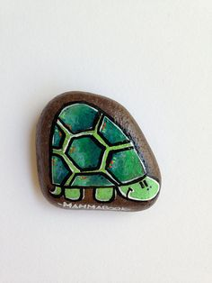 Goodluck Turtle, handpainted decorative river stone