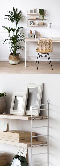 Las nuevas estanterías Pocket son ideales para colocar sobre un escritorio. Con una ligera estructura metélica y baldas en fresno blanco. #nordicliving #interiors #design