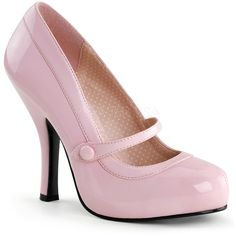 Baby Pink Patent Leather Cutie Pie Pumps ($64) ❤ liked on Polyvore featuring shoes, pumps, sexy shoes, patent pumps, hidden platform shoes, vintage footwear and strap pumps