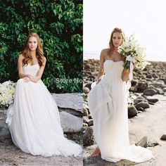 2014 New Vintage Lace Appliques Beach Wedding Gown A Line Strapless Sleeveless White Ivory Flowy Chiffon Bridal Dresses KM-53