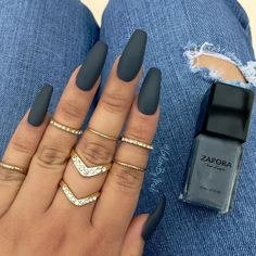 Gun Metal Loving this new shade I got from @zaporaofficial it's called (GunMetal) it's such a unique color ~ Top coat is @sally_hansen Big Matte Top Coat ::: @glambymeli