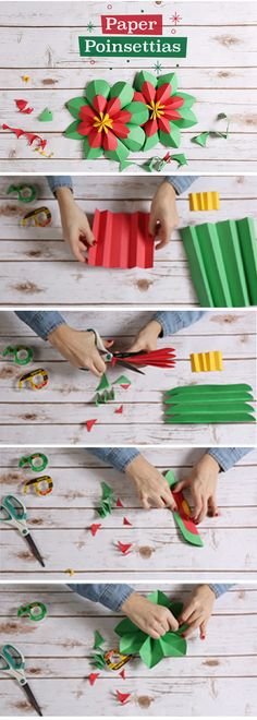 You'll need: Red, green, and yellow construction paper - Scotch Magic Tape - Scotch Double Sided Tape - Scissors