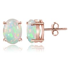 Rose Gold Tone over Sterling Silver 1.50ct Ethiopian Opal  8x6 Oval Stud Earrings