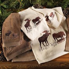 Rustic Bathroom ~ Embroidered Moose Towels