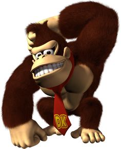 Donkey Kong (DK) is a fictional gorilla appearing in multiple games in the Donkey Kong franchise. Conceived by Nintendo game designer, Shigeru Miyamoto, Donkey Kong first appeared in the classic 1981 arcade game, Donkey Kong. The Legend Of Zelda, Super Smash Bros, Super Mario Bros, Animal Crossing, Nintendo Characters, Disney Characters, Saga, Monkey Illustration, Diddy Kong