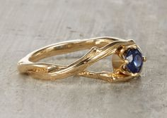 Sapphire Solitaire Unity Engagement Ring  14kt Gold by OliviaEwing