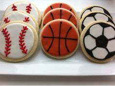 Baseball, Basketball & Soccer Sports Cookies on Etsy, $22.00 - Boys birthday party cookie for the ultimate fan!