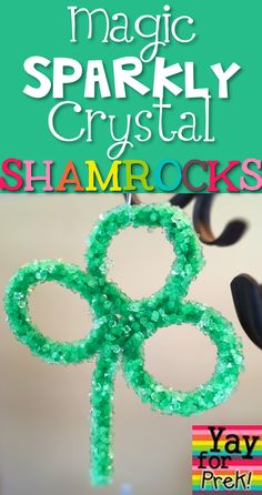 Make your own sparkly shamrocks using a magic ingredient and pipe cleaners!   www.yayforprek.blogspot.com