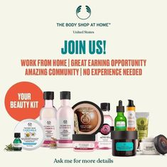 Get a killer kit when you join my team! Body Shop At Home, The Body Shop, Direct Sales Companies, Home Business Opportunities, Beauty Regime, Beauty Kit, Starting Your Own Business, Shopping Websites, Beauty Industry