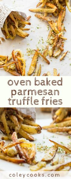 OVEN BAKED PARMESAN TRUFFLE FRIES | Tricks to getting the crispiest oven baked fries that get an extra boost of flavor from parmesan cheese and truffle oil. The best! #fries #truffle #baked #ovenfries #parmesan #side #appetizer #healthy #recipe | ColeyCooks.com