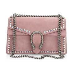 """small dionysus crystal-embellished suede chain shoulder bag by Gucci. Sliding chain strap can be worn as a shoulder strap with 15"""" drop or can be worn as a top handle with 8.5"""" drop. Pin closure with side release and Tiger head. Silvertone hardware. One inside zip compartment. Suede lining.11""""W x 7""""H x 3.5... #gucci #bags"""