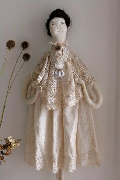 Textile art doll 'Virginia' by Pantovola