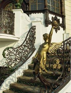 Art nouveau staircase at Hanava Pavilion in Prague.
