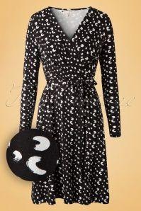 60s Minnie Brush Stroke Dress in Black