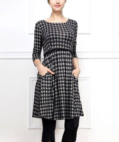 Loving this Black & Gray Houndstooth Fit & Flare Dress - Women on #zulily! #zulilyfinds