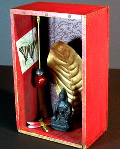 Red Buddha Box Altar Meditation Shrine by BethamayArts on Etsy