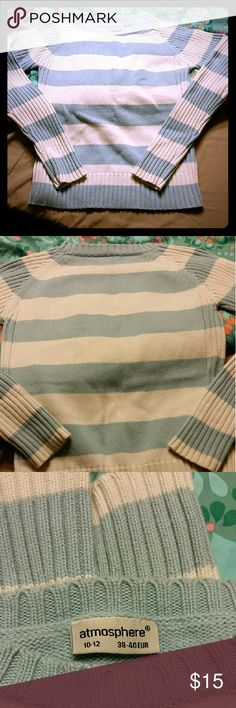 Striped Sweater (From UK) Cozy & comfy, heavier knit, light blue & white striped sweater. Purchased in Ireland. Only worn a few times. No longer fits me. Fits like a misses small. 100% cotton. Price firm unless bundled. atmosphere  Sweaters Crew & Scoop Necks