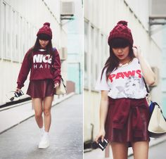 Nice Hair Sweater, Burgundy Leather Skirt, H Burgundy Beanie, White Creepers, Gold Chain Link Necklace, Paws Kitty Tee - NICE HAIR - Willabelle Ong