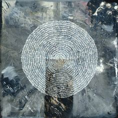 Antonio Puri - rice paper, acrylic, beads, shellac + ink  on canvas     72 x 72 inches