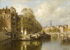 A View on the Amstel with the Blaubrug and the Zuiderkerk, Amsterdam, oil on canvas by Johannes Christiaan Karel Klinkenberg, Dutch, 1852-1924. Private Collection.