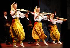 "National ensamble KOLO from Belgrade performing ""Vranjanska svita"", a play from Vranje vicinity, south Serbia. Womans are wearing dimije or so called schalwar"