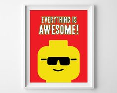 Everything Is Awesome Lego Print Lego Quote Boys Lego Art Lego Quotes, Lego Wall Art, Cool Lego, Awesome Lego, Lego Decorations, Lego Themed Party, Lego Room, Toy Rooms, Kids Rooms