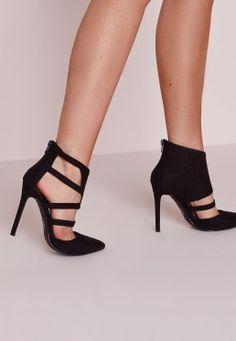 Geometric Cut Out Court Shoe Black