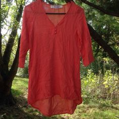 Francessca's romantic Adorable short dress in coral/ pink color from Francesca's. Material is a super thin comfortable cotton. Can be used as a romantic nightie or beach cover up. Has small tear under arm which can be easily fixed- it's on the seam. In amazing condition- used just a few times. Francesca's Collections Intimates & Sleepwear