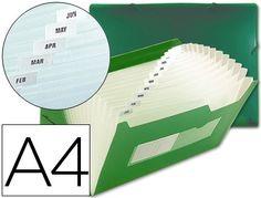 Carpeta Beautone clasificador fuelle Din-A4 verde  http://www.20milproductos.com/archivo/carpetas-subcarpetas-y-dossieres/carpeta-beautone-clasificador-fuelle-42163-polipropileno-din-a4-verde-2-huecos-tarjetas-13-departamentos.html