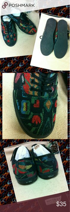 📊 Vans S8ter Shoes Rare Print Men 6.5 or Lady8 📊 Rare Reggae Colored Print Vans Flats. Size 6.5 in Men's or Boys and Size 8 in Women's. Good Condition. Bottom Soles Look Great. Vans Shoes Flats & Loafers
