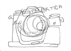 """""""Snap"""". Black and White Print by Art is Autobiographical. This is a blind contour drawing of an old fashioned camera. Blind Contour is technique used to develop communication between the hand and the eye. Contour means that you draw the outline of the item and doing it 'blind' means that you don't look at what your drawing. £15.00"""