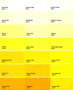173 Best Shades Of Yellow Color Names Paint Images Yellow Shades