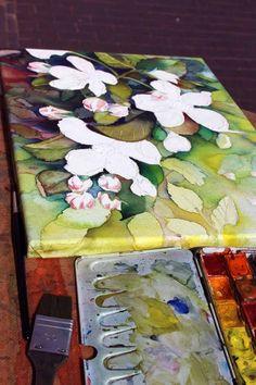 Apfelblüten sind immer wieder eine Pracht (c) Aquarell auf Leinwand von Frank Koebsch | Mit einer Vielzahl von Lasuren entsteht das Motiv (c) Frank Koebsch