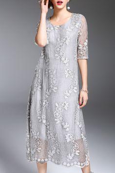 Half Sleeve Embroidered Silk Dress ==